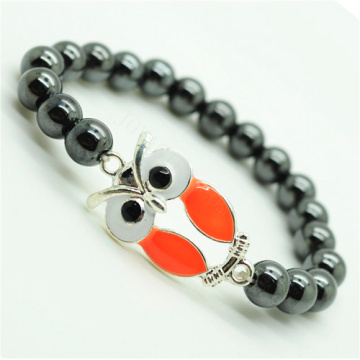 Pulsera Hematite 8MM Round Beads Stretch Gemstone con aleación Owl Piece