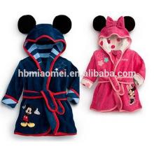 2017 China wholesale children fleece bath robe with animal hood