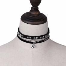 Leather Velvet Choker Necklace Punk Rivet Charm Necklace
