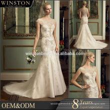 Alibaba Nouvelle conception seqiin robe de mariage mariée sirène