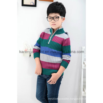 1/4 Zipper Turtleneck Striped 100% Cotton Boys Sweater
