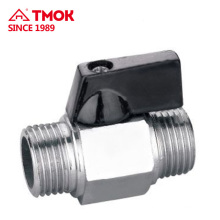 Male*Male thread High quality brass mini ball valve with black small handle