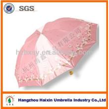 Parapluie matériel de satin pliant 3 pour le marché du Vietnam et du Bangladesh