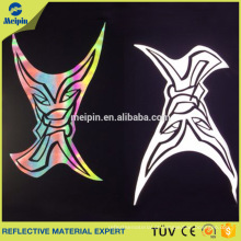 Logotipo / etiquetas reflexivos personalizados da transferência térmica do arco-íris de prata