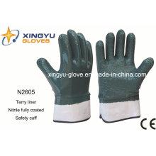 Terry Liner Guante de trabajo de seguridad recubierto de nitrilo (N2605)