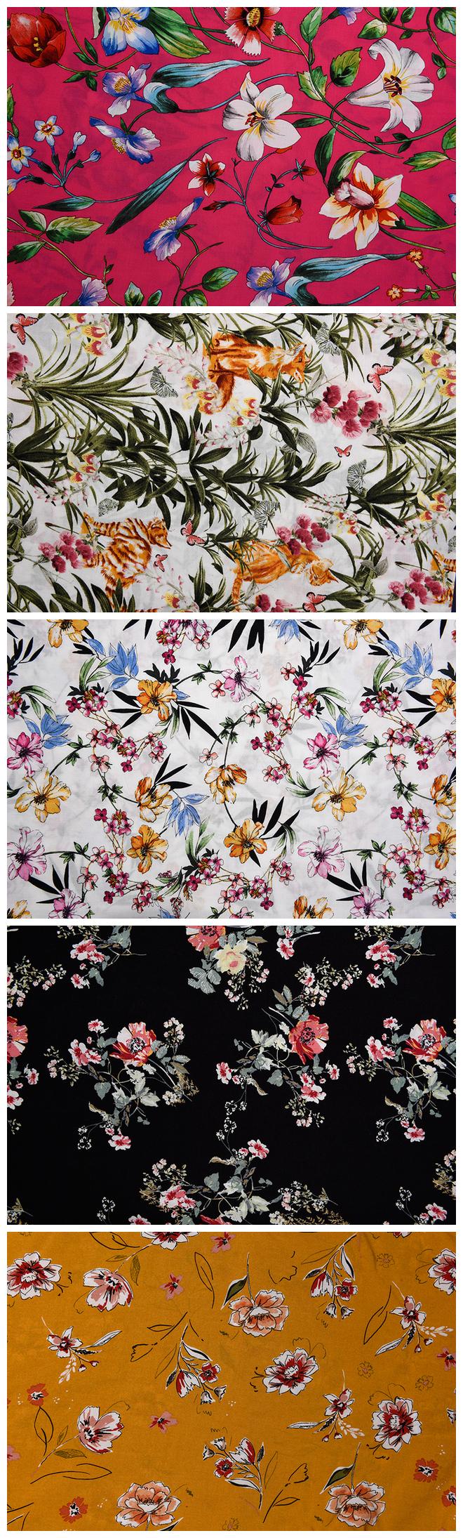 Rose Flower Pattern Printed Fabrics
