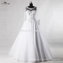 RSW937 cuello barco manga larga Alibaba rebordeado rebordear cuentas de cristal para el vestido de novia 2016
