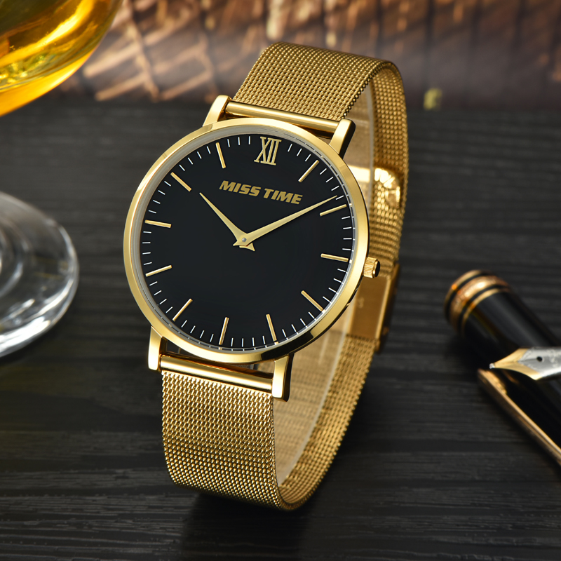 japan original gold bands movement gold time quartz watch