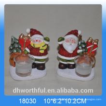 Bougeoir en céramique de Noël élégant avec motif Santa