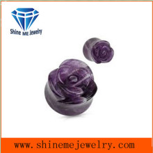Piercing Jewelry Amethyst Carved Flower Stone Earplug