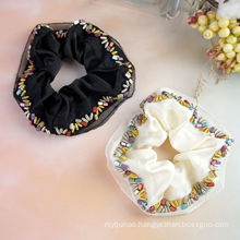Ribbon Beads Scrunchies For Women Solid Designer Fabric New Hair Accessories Tie Bow Elastic Band For Girl Wholesale