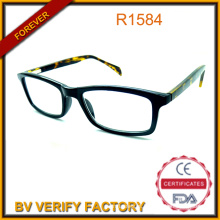 PC Black Frame Reading Glasses with Cp Demi Color Temple Manufacturer R1584