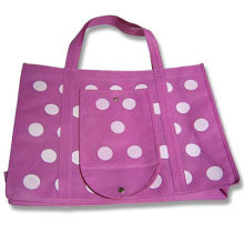 Nonwoven foldable Bag in White Dotted Design, with Front Pocket