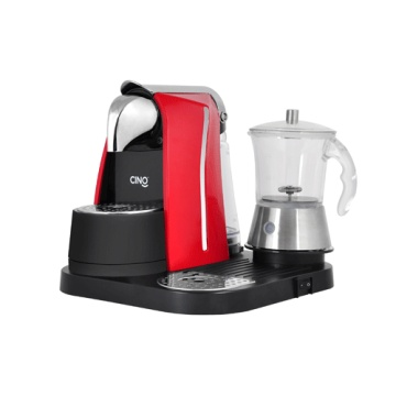 Capsule Coffee  Machine with Transparent Glass Milk Frother