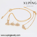 63775 18k gold jewelry wholesale fashion delicate white diamond earring bracelet and necklace gold plated jewelry sets