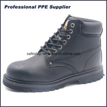 Genuine Leather Black Color Goodyear Welt Safety Shoe