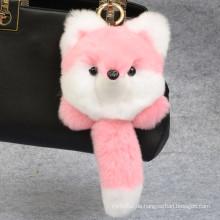 Fox Shaped Rex Kaninchenfell Keychain