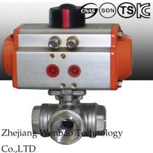 Válvula de esfera de aço inoxidável atuada pneumática de três maneiras com 1000wog