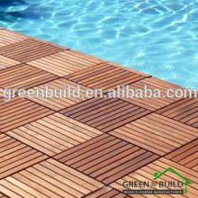 Suelo de madera de la piscina de la teca sólida al aire libre