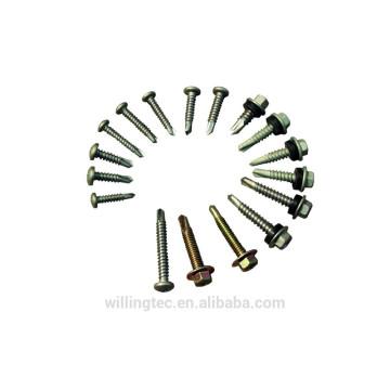 Parafusos de autoperfuração de cabeça Hex personalizados com borracha do fabricante
