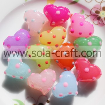 23*29MM Dots Jelly Colorful Quality Acrylic Heart Charm Beads Pattern