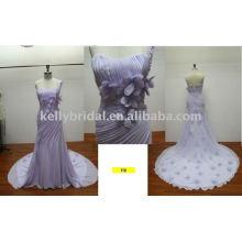2011 último diseño largo vestido de noche con tren decorado con perlas y hechos a mano flor