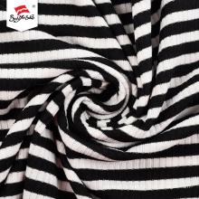 Yarn Dyed Rib Polyester Rayon Spandex Fabric