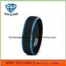 Heiße verkaufende doppelte Farben-Wolfram-Ring-Männer blaue Hochzeits-Ringe