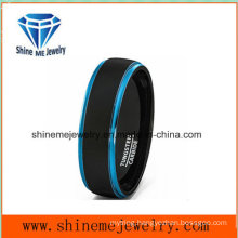 Hot Selling Double Color Tungsten Ring Men′s Blue Wedding Rings
