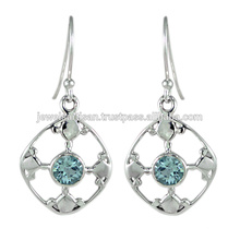 Swiss Blue Topaz Gemstone 925 Sterling Silver Earring Jewelry