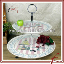 ceramic 2-layer cake stand with full decal
