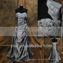 RSE93 серебристо-серый старинные кружева мать невесты платье с курткой