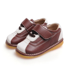 Brown and White Baby Boy Shoes Soft Sole