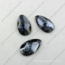 China Wholesale High Refraction Lead Free Machine Cut Decorative Flat-Back Loose Glass Stone with Hole for Dresses