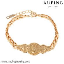 74577 xuping nova pulseira de mulheres 18k banhado a ouro religiosa sem zircão