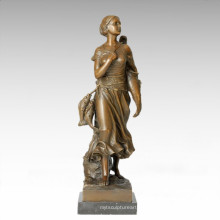 Figure Classique Statue Mer Fisher Bronze Sculpture TPE-187