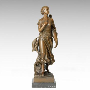 Klassische Figur Statue Sea Fisher Bronze Skulptur TPE-187