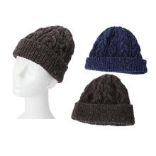 Alta qualidade mão malha homens lã cap chapéu