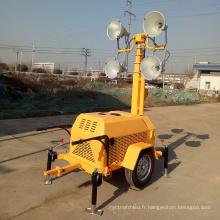 Équipement d'éclairage d'urgence FZMT-400B de tour légère extérieure mobile de tour de remorque