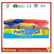 Conjunto de taza de pintura acrílica con cepillo de pintura