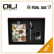 FDA 8oz stainless steel hip flask wine accessories charm box gift set