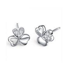Three-Leaf Clover Friendship Love Family 925 Silver Stud Earrings