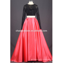 2017 latest design fashion long sleeve lace two piece prom dress with open back