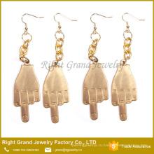 Оптовая цена мода Хирургическая сталь 316L Индийский золото покрыло средний палец необычные серьги