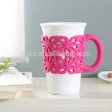 Tazas de café de cerámica de 400cc con mango de silicona