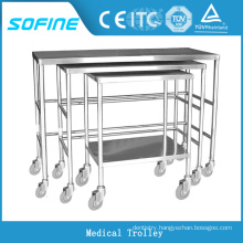SF-HW1101 hospital ues stainless steel hospital crash cart medical trolley