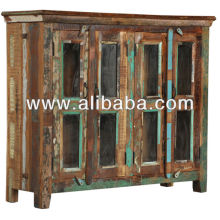 recycle wood glass panel side board