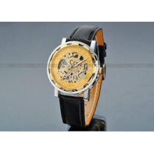 Leather Gold Dial Mens Automatic Watch 43mm Case , Sport Wr