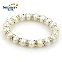 9mm a Button White Freshwater Pearl Bracelet