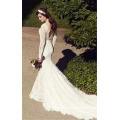 2017 Wunderschöne Spitze Appliqued lange Hülse Backless lange Spur weiße Meerjungfrau anmutige Hochzeitskleid